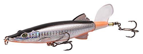 Wobbler, Whopper Plopper, esca per luccio, esca artificiale, pesci predatori, pesci predatori, esche da superficie, 14,5 cm, 20 g, coda rotante, popper, pesca, argento
