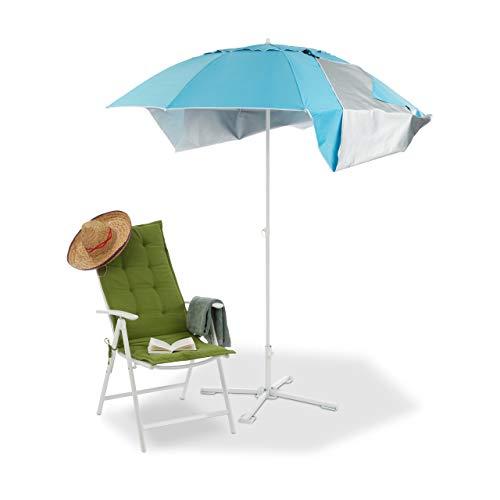Relaxdays Sonnenschirm Strandzelt m. Tragetasche, UV 50 Sonnenschutz, HxD 210x180cm, blau Strandmuschel Schirm,