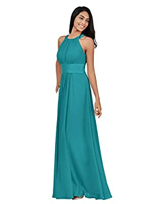 This long elegant evening gown is casual but still sophisticated. The halter style features a pongee belt at the front. A pongee waist and plenty of pleats finish this daring look, you will receive many compliments on this beautiful dress How to Choo...