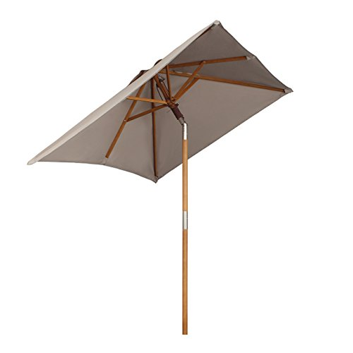 Sekey® 200 × 150 cm Holz-Sonnenschirm Marktschirm Gartenschirm Terrassenschirm Sonnenschutz UV50+ Taupe Quadratisch