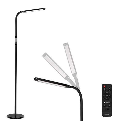 Albrillo LED Stehlampe 8W - 2-in-1 Leselampe & Stehleuchte, Touch & Remote Control, 5 Farbtemperaturen & 5 Helligkeitsstufen, Timer & Augenschutz, für Wohinzimmer, Schlafzimmer und Büro, Schwarz