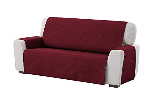Textilhome - Funda Cubre Sofá Adele, 3 Plazas, Protector para Sofás Acolchado Reversible. Color Rojo