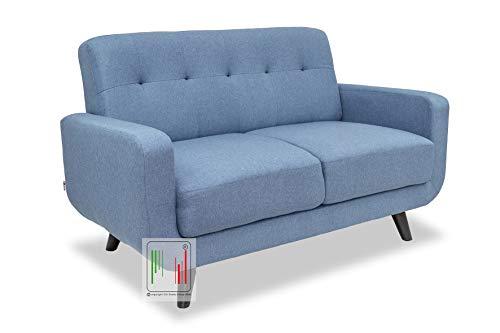 Stil Sedie - Divano 2 Due posti Tessuto Moderno Imbottito con braccioli Modello Boston (Azzurro)