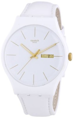 Swatch White Character White Dial White Leather Strap Unisex Watch SUOW703