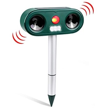 Répulsif Chat Ultrason, Répulsif Animaux Alarme Sonore et Visuelle, Charge de Solaire ou de Batterie, Répulsif Étanche avec 5 Fréquence Réglables pour Chats, Chiens, etc