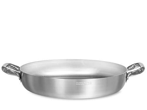 Pentole Agnelli ALMA11050 Tegame con Maniglie, Alluminio, Argento, 50 cm