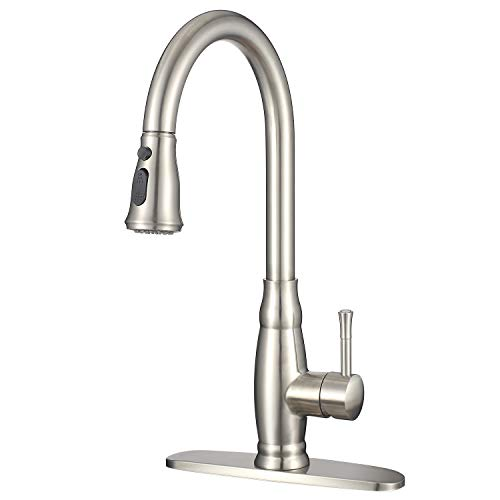 IMLEZON Stainless Steel Kitchen Faucet with Pull Down Sprayer Modern Kitchen Sink Faucet with Deck Plate Single Lever Handle