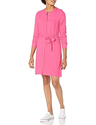 This weekend-perfect casual shirt dress features long sleeves and a band collar Everyday made better: we listen to customer feedback and fine-tune every detail to ensure quality, fit, and comfort Check out more from Amazon Essentials by visiting amaz...