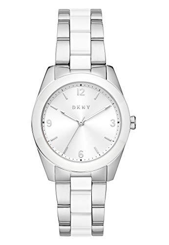 DKNY Damen-Uhren Analog Quarz One Size Silber/Weiß 32013259