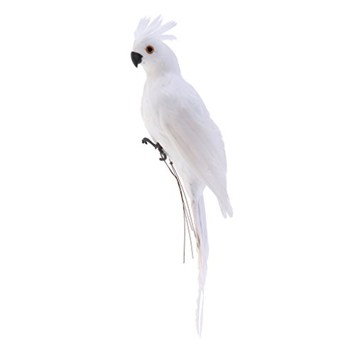 Artificial Animal Feather Fake Bird Taxidermy Garden Home Decor Ornament - White