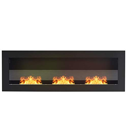 DKIEI Ethanol Fireplace Wall Mounted Bio Ethanol Fireplace Insert Fires 3 Burners No Chimney, No Electricity Required Black Painted Steel, 120x15x40cm