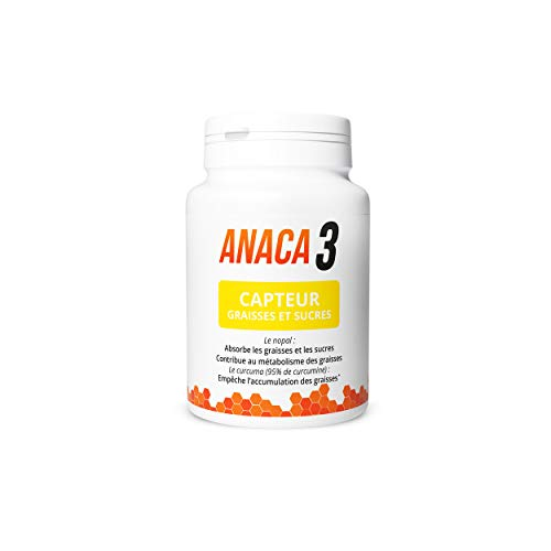 Anaca3 –Capteur Graisses et Sucres –Absorbe (1) & Déstocke (2) –Complément Alimentaire – Programme 30 jours —60 gélules