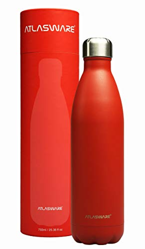 Termo de Acero Inoxidable | Botella de Agua. Hasta 24 Hrs Frío & 18 Caliente (Scarlet Red 750 ml)