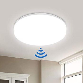 LEOEU 18W Plafonnier LED avec Détecteur de Mouvement, 1800LM, IP54 Étanche, Eclairage de Plafond, Lampe de Lumière Automatique, Luminaire rond pour Garage, Entrée, Couloir, 4000K Blanc Neutre