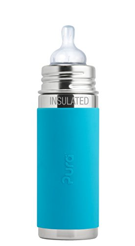 Pura Kiki 9 oz / 260 ml Stainless Steel Insulated Anti-Colic Infant Bottle with Silicone Medium-Flow Nipple & Sleeve, Aqua (Plastic Free, NonToxic Certified, BPA Free)