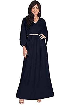 Plus size maxi dresses for women with half sleeves; flattering and slimming plus sized Dark Navy Blue v-neck maxi dresses; womans full figure clothing; comfortable 3/4 sleeved maxi dress; floor length dresses; half sleeve gowns for curvy lady Classy ...