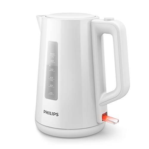 Philips Hervidora serie 3000 HD9318/00- Hervidor de agua eléctrico de plástico, capacidad 1.7L, 2200w, indicador luminoso de encendido, tapa abatible con un botón, blanco