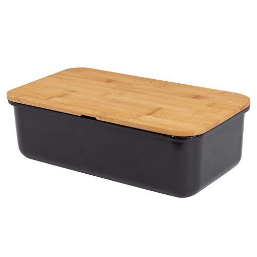 Mack geräumiger Brotkasten aus Melamin mit Brotbox mit Bambusdeckel als Schneiderbret Maße 38 x 21 x 13cm in Farbe schwarz Brotaufbewahrung
