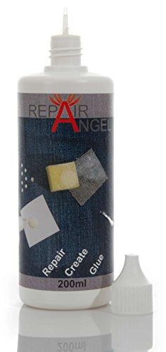 Repair Angel - Colla per tessuti, lavabile in lavatrice, trasparente, per tessuti, pelle, jeans,...