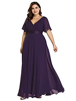 """Padded enough for """"no bra"""" option Features: double V-Neck, ruffle sleeves, front wrap, empire waist, floor length maxi dress Perfect as bridesmaid dresses, wedding dresses, wedding guest dresses, evening dresses, formal dresses.etc The flowy chiffon ..."""