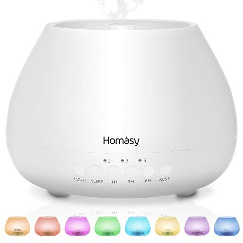 Homasy 500ml Diffusore di Oli Essenziali, 23dB diffusore di Aromi con Modalit Sleep, Diffusore Oli...