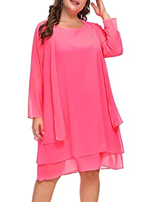 Plus size 2 pcs dress with jacket, sleeveless chiffon shift dress and long sleeves see-through sheer coat. Scoop neck,knee-length dress, no zip, relaxed fit style. Classical semi formal work style chiffon jacket dress,suits for spring,summer and autu...