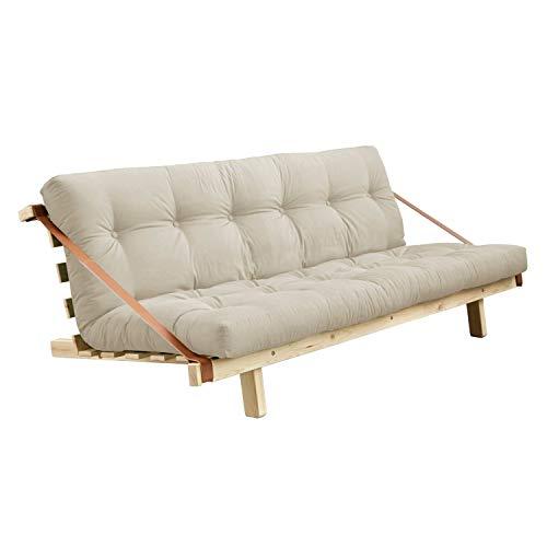 Karup Desgin Jump | Divano letto futon in legno naturale con funzione letto e materasso beige...