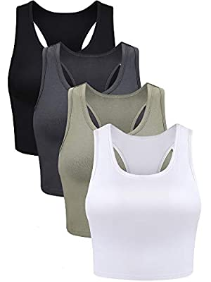 Package contents: you will get 4 pieces of basic crop tank tops in total in various colors, enough quantity for you to choose and have a different wearing enjoyment Comfortable material: the sleeveless racerback crop is made of spandex, soft and ligh...