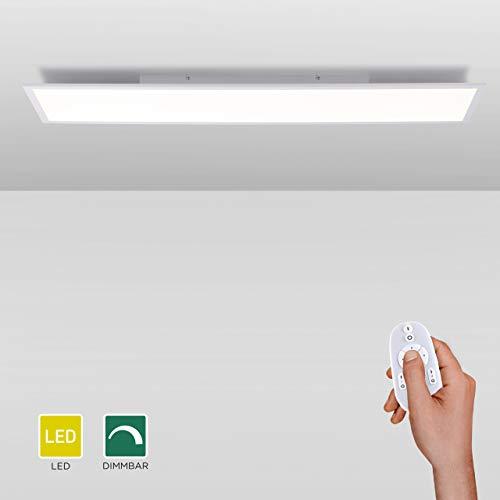LED Panel flach, 120x30, dimmbare Decken-Lampe | Helligkeit mit Fernbedienung einstellbar, kaltweisses Licht | Decken-Leuchte für Büro, Wohnzimmer, Küche und Bad