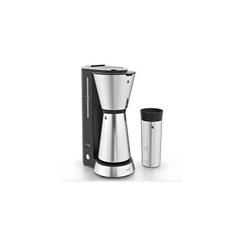 WMF Küchenminis Aroma Filterkaffeemaschine mit Thermoskanne, 870 Watt, Thermobecher to go, kleine Kaffeemaschine, Timer, Cromargan matt