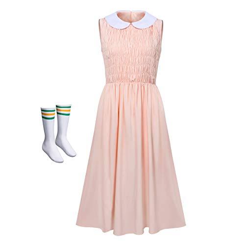 Nuwind Costume da donna di Eleven di Stranger Things, con vestito rosa e calzini, per adulti, per...
