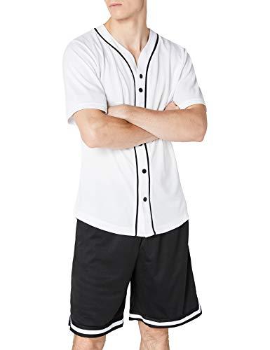 Urban Classics Camiseta Baseball Mesh Jersey con Botones a Presión con Vivos a Contraste, para un Look Deportivo, para Vestir Arreglado pero Casual en white, talla M, hombre
