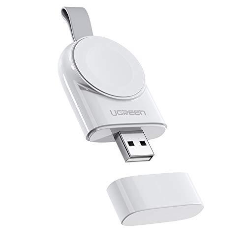 UGREEN Caricatore Wireless Apple Watch, [Certificato Apple MFi] Caricabatterie Portatile Magnetico Compatibile per Apple Watch Series 5 (2019) 4 3 2 1 Edition Hermès, 38-44mm. (Bianco)
