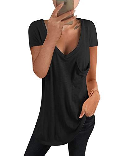 kenoce T-Shirt Manica Corta Donna Scollo a V Profondo Camicetta Casual Sexy Loose Bluse Maglietta Donna Estiva ed Autunno D-Nero XL