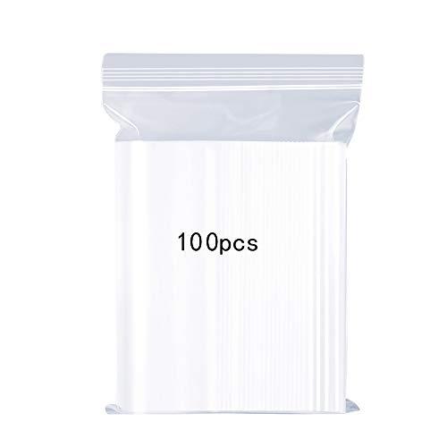 Bolsas de plástico transparentes que se pueden volver a sellar, bolsa de cierre de cremallera reutilizable fuerte, engrosamiento y duradero, prensa para cerrar,14x20cm Bolsa compras 100 pcs