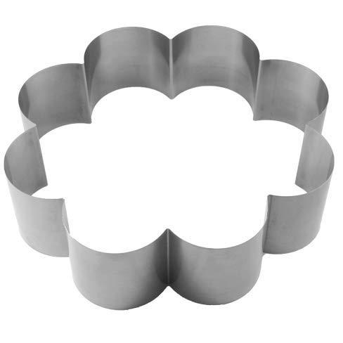 Lares - Backform/Backrahmen/Tortenring - aus Federbandstahl - Motiv: Blume 8 Bogen - Ø ca. 27cm, H: ca. 7cm - Made in Germany