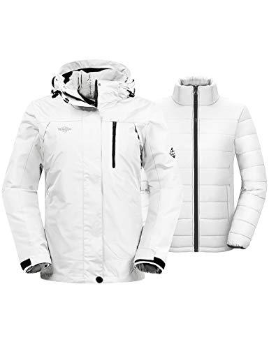 Wantdo Women's Warm Windproof 3-in-1 Jacket Hooded Waterproof Ski Coat Ivory M