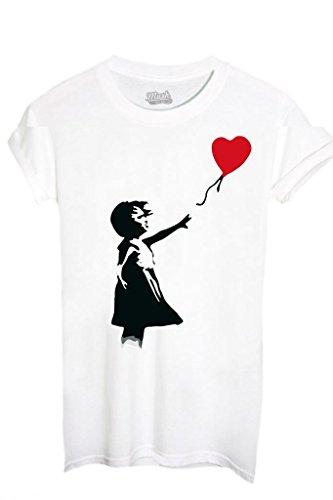 MUSH T-Shirt Banksy Cuore Palloncino - Famosi by Dress Your Style - Uomo-XXL-Bianca