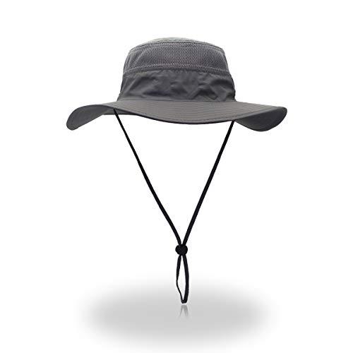 EONPOW Windproof Fishing Hats UPF50+ UV Protection Sun Hat Outdoor Bucket Mesh Hat 56-61cm Grey