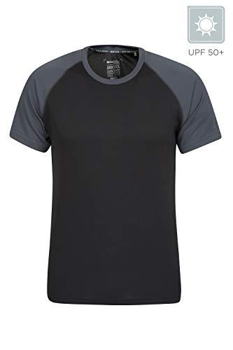 Mountain Warehouse Endurance Herren-T-Shirt - atmungsaktiv, UPF-30-Schutz, leichtes, bequemes und schnell trocknendes Oberteil - für Fitnessstudio, Reisen, Wandern Schwarz Jet XL