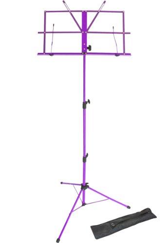 Lawrence LMS02-PU - Atril (plegable, regulable, metal, con funda), color violeta