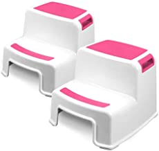 Two Step Kids Step Stools – 2 Pack, Pink – Child, Toddler Safety Steps for..