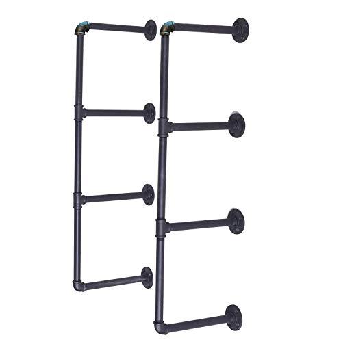4-Tier DIY Industrial Pipe Shelf Kit Hanging Bookshelf for Wall Open Pipe Shelving Black (4 Tiers)