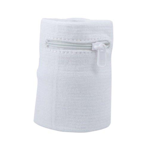 Suddora Zipper Sweatband Wristband White