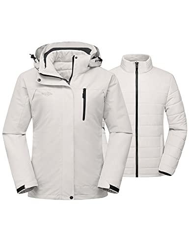 Wantdo Women's Warm Winter Coat Windbreaker 3-in-1 Ski Jacket Detachable Hooded Waterproof Raincoat Ivory M