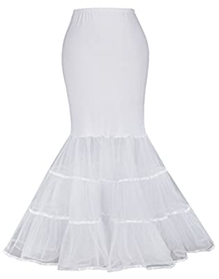 Bridal Mermaid Fishtail Petticoat.The top is elastic strench knitted fabric,softer and comfortable than other Satin used.Fits snugly to the body, but is stretch, so no danger of it falling down. Not too bulky,just enough to make dress hang well Hoopl...