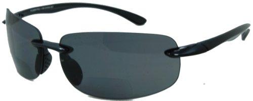 In Style Eyes Lovin Maui Wrap Polarized Nearly Invisible Line Bifocal Sunglasses black 2.00