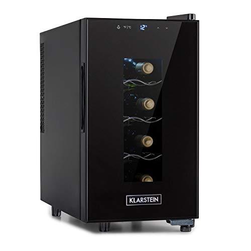 KLARSTEIN Bellevin Uno - Frigorifero Vini, Cantinetta, Temperatura: 11-18 C, 26 dB, 3 Ripiani in Metallo, Luce LED, Protezione da UV, Posizionamento Libero/Counter Top, 23 L/8 Bottiglie, Nero