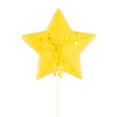 These sparkly yellow star lollipops contain golden Stars that Glisten with beauty. These lollipops are beautiful AND DELICIOUS. Our Yellow Star Lollipop is handcrafted to perfection in Los Angeles, CA, USA! The lollipops are perfect for lollipop part...