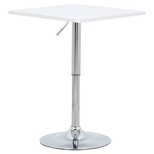 WOLTU BT03ws Tavolo da Bar Tavolino Cucina in Robusto MDF Cromato Altezza Regolabile Girevole...